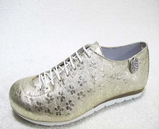 Дамски обувки равни естествена кожа златисти UOPZ-22906