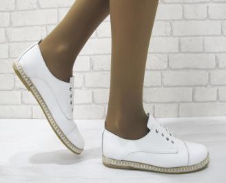 Дамски обувки равни естествена кожа бели BTKC-23124