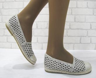 Дамски обувки равни естествена кожа златисти EFDL-23125