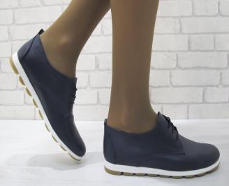 Дамски обувки равни естествена кожа тъмно сини GDUW-23126