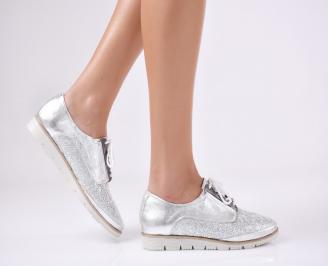 Дамски обувки равни естествена кожа сребристи KJUK-23349
