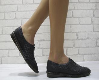 Дамски  обувки  равни  естествена кожа черни MTQG-24477