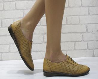 Дамски  обувки  равни  естествена кожа бежови EMBF-24484