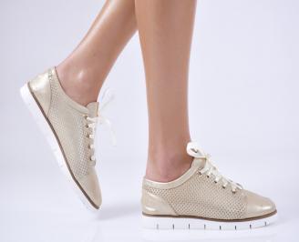 Дамски обувки равни естествена кожа златни TLHG-26485