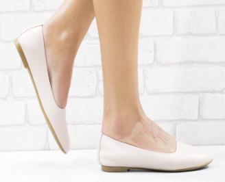Дамски обувки равни естествена кожа пудра RIVK-26544