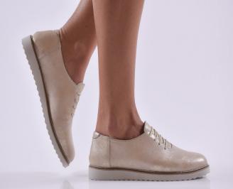 Дамски обувки равни естествена кожа златни ETDS-26808