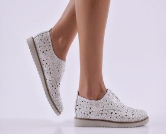 Дамски обувки равни естествена кожа бели WVBM-26817