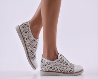Дамски обувки равни естествена кожа бели GUQB-26818