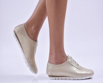 Дамски обувки равни естествена кожа златни IWUP-26852