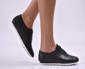 Дамски обувки равни естествена кожа черни JXKS-26858