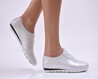 Дамски обувки равни естествена кожа сребристи XKNW-26859