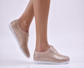 Дамски обувки равни естествена кожа пудра BVMU-26860