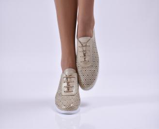 Дамски обувки равни естествена кожа златисти GMRA-26861