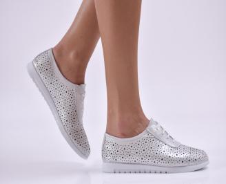 Дамски обувки равни естествена кожа сребристи JWOT-26862