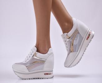 Дамски обувки равни естествена кожа бели GAEL-26867