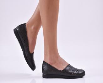 Дамски обувки равни естествена кожа черни QTHZ-26868