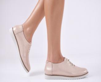 Дамски обувки равни естествена кожа пудра PDPS-26869