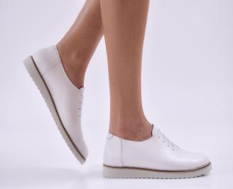 Дамски обувки равни естествена кожа бели KKYA-26871