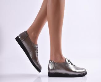 Дамски обувки равни естествена кожа сребристи GORQ-26896