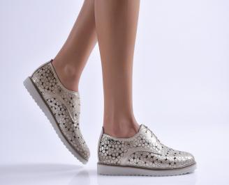 Дамски обувки равни естествена кожа златисти LJLQ-26897