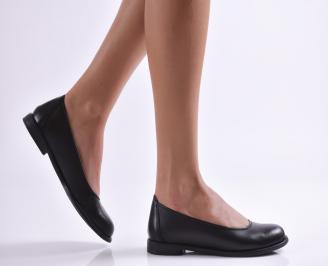 Дамски обувки равни естествена кожа черни KWJM-26898