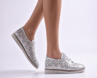 Дамски обувки равни естествена кожа сребристи BPHN-26899