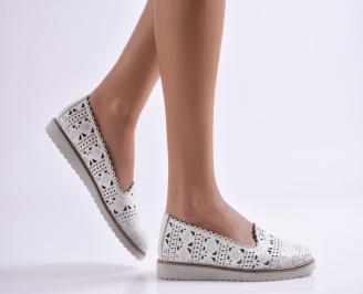 Дамски обувки равни естествена кожа бели NWOY-26900