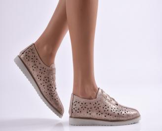 Дамски обувки равни естествена кожа пудра MVNK-26901