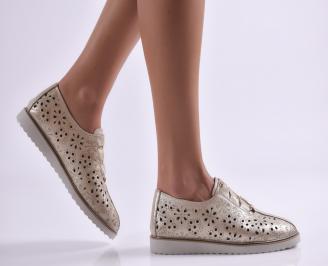 Дамски обувки равни естествена кожа златисти VOUY-26902