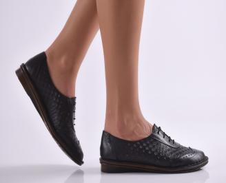 Дамски обувки равни естествена кожа черни PASE-26910