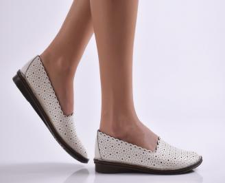 Дамски обувки равни естествена кожа бежови AMUH-26911