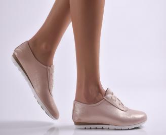 Дамски обувки равни естествена кожа пудра UDGM-26914