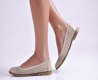 Дамски обувки равни естествена кожа бежови LMAG-26930