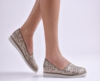 Дамски обувки равни естествена кожа бежови MQIC-26931