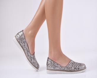 Дамски обувки равни естествена кожа сребристи IICU-26932