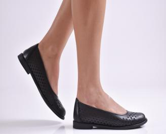 Дамски обувки равни естествена кожа черни YODA-26933