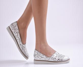 Дамски обувки равни естествена кожа бели SVJU-26935