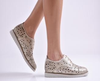 Дамски обувки равни естествена кожа златисти GLVT-26936