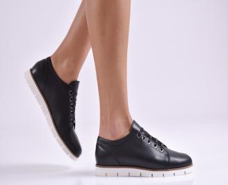 Дамски обувки равни естествена кожа черни MNGK-26945