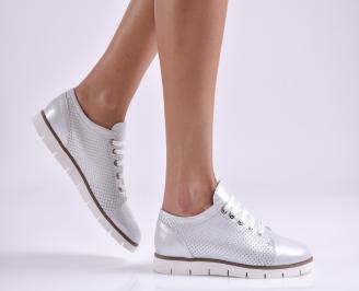 Дамски обувки равни естествена кожа сребристи NZMO-26946
