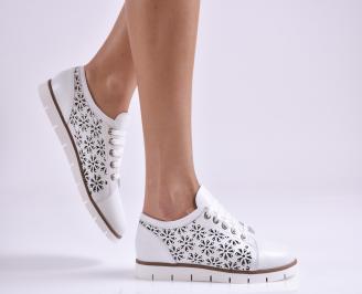 Дамски обувки равни естествена кожа бели BVWM-26947