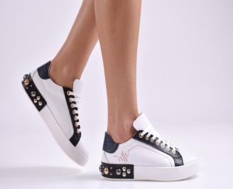 Дамски обувки равни естествена кожа бели XDGO-26948