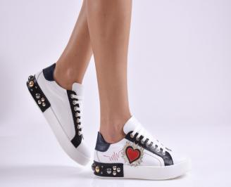 Дамски обувки равни естествена кожа бели JJRD-26949