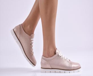 Дамски обувки равни естествена кожа пудра UQHU-26952