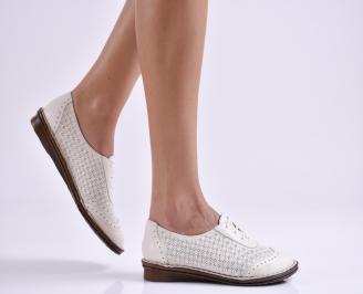 Дамски обувки равни естествена кожа бежови ZAWG-26954