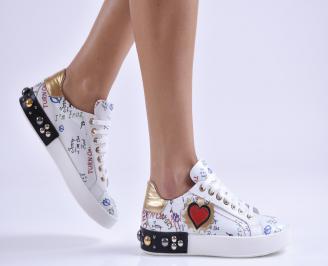Дамски обувки равни естествена кожа бели BZWA-26955