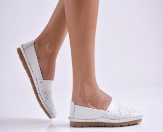 Дамски обувки равни естествена кожа бели MTQR-26987
