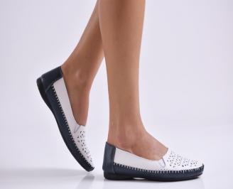 Дамски обувки равни естествена кожа бели SZBS-26988