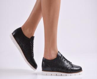 Дамски обувки равни естествена кожа черни ZPQY-27008