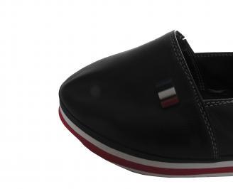 Дамски обувки равни естествена кожа черни WABK-19595